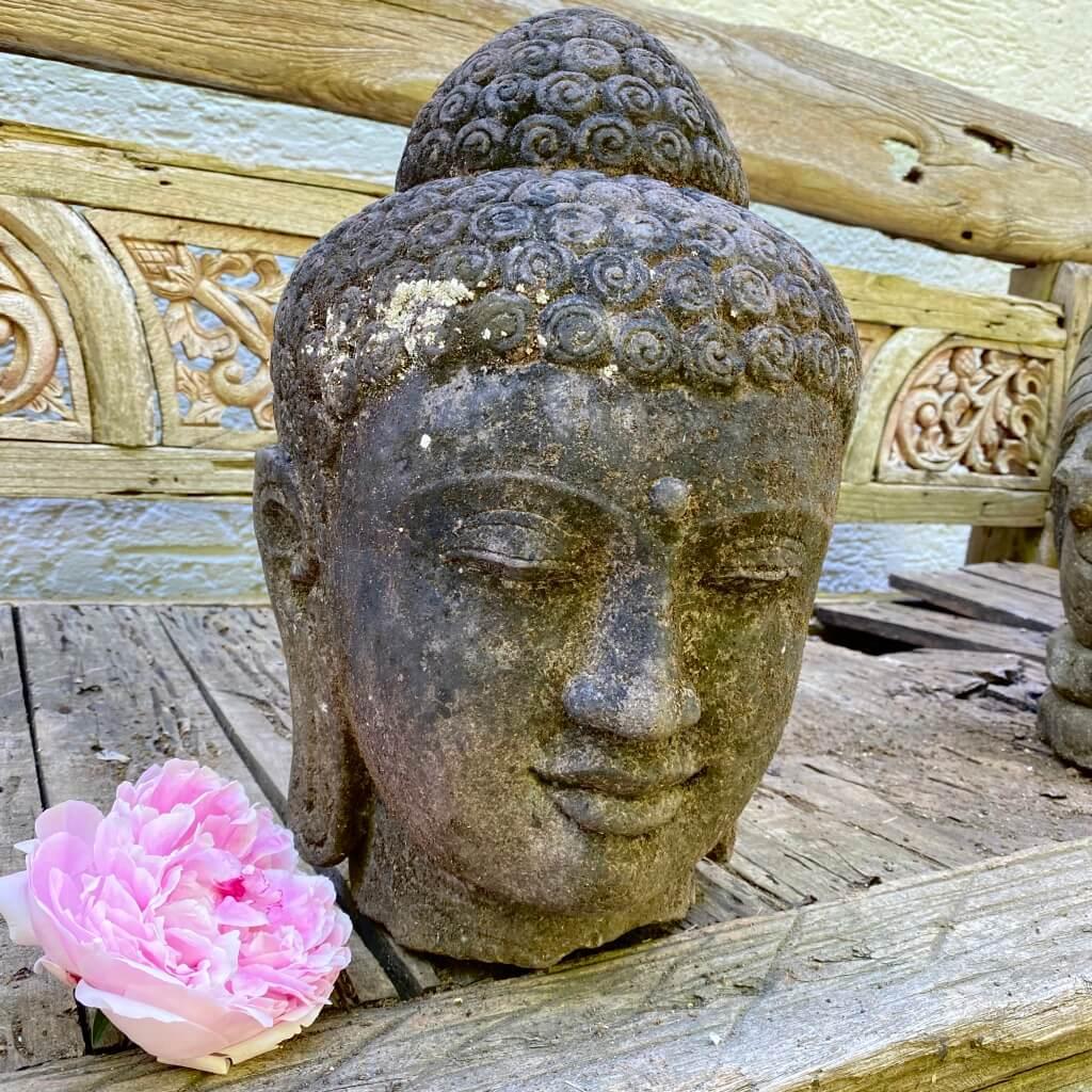 Buddhakopf Steinskulptur 40 cm