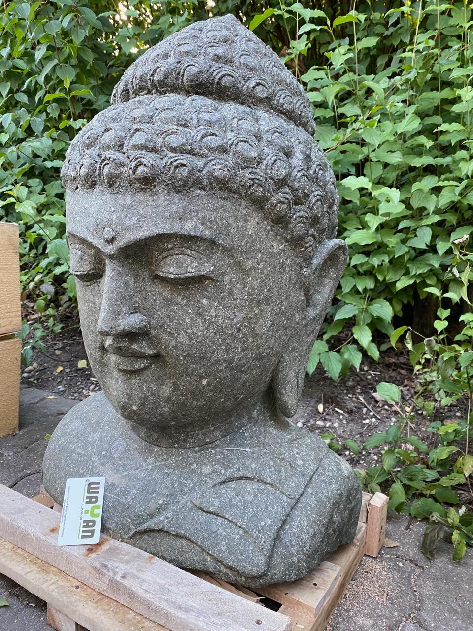 Buddhakopf sanft lächelnd Steinstatue 79 cm