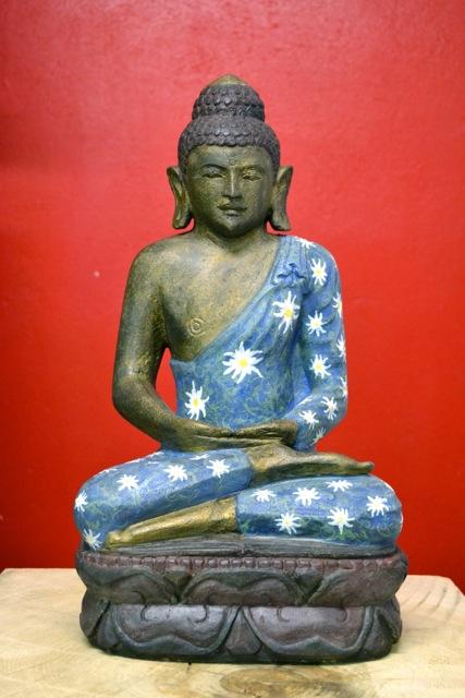 Flower Power Buddha Steinskulptur