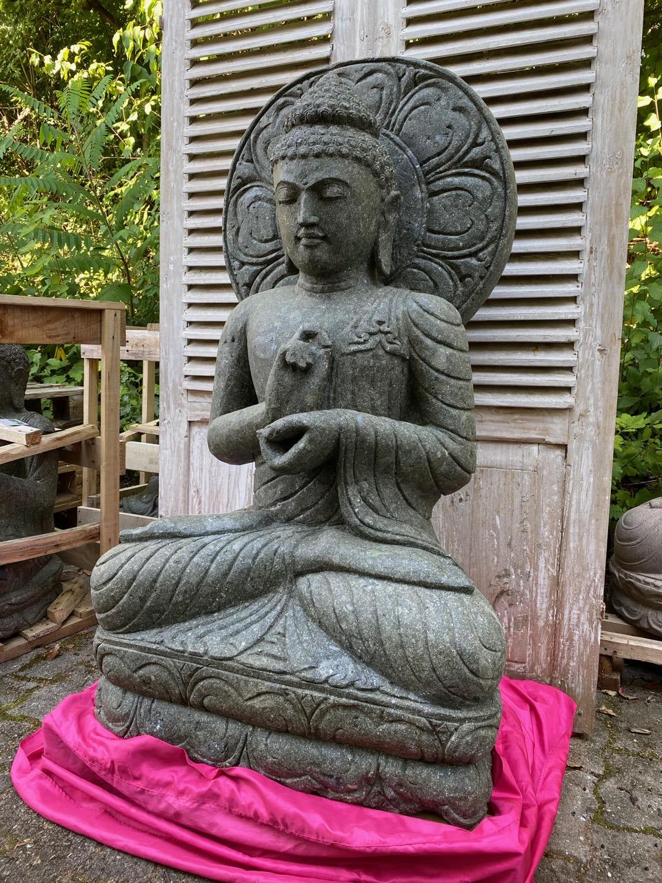 große Buddha Steinfigur mit prächtigem Mandala 124 cm