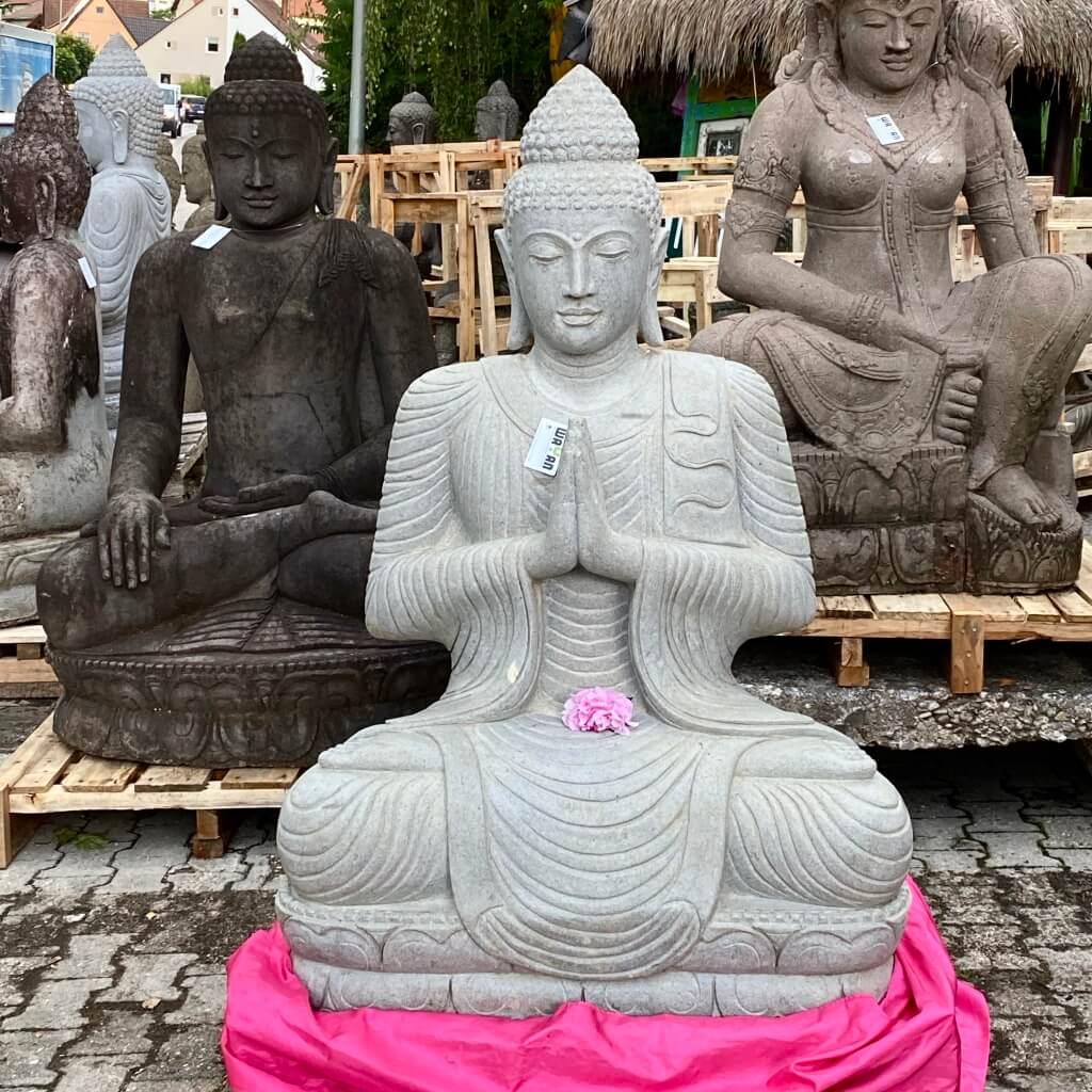 Große Buddhastatue weisser Riverstone 152 cm