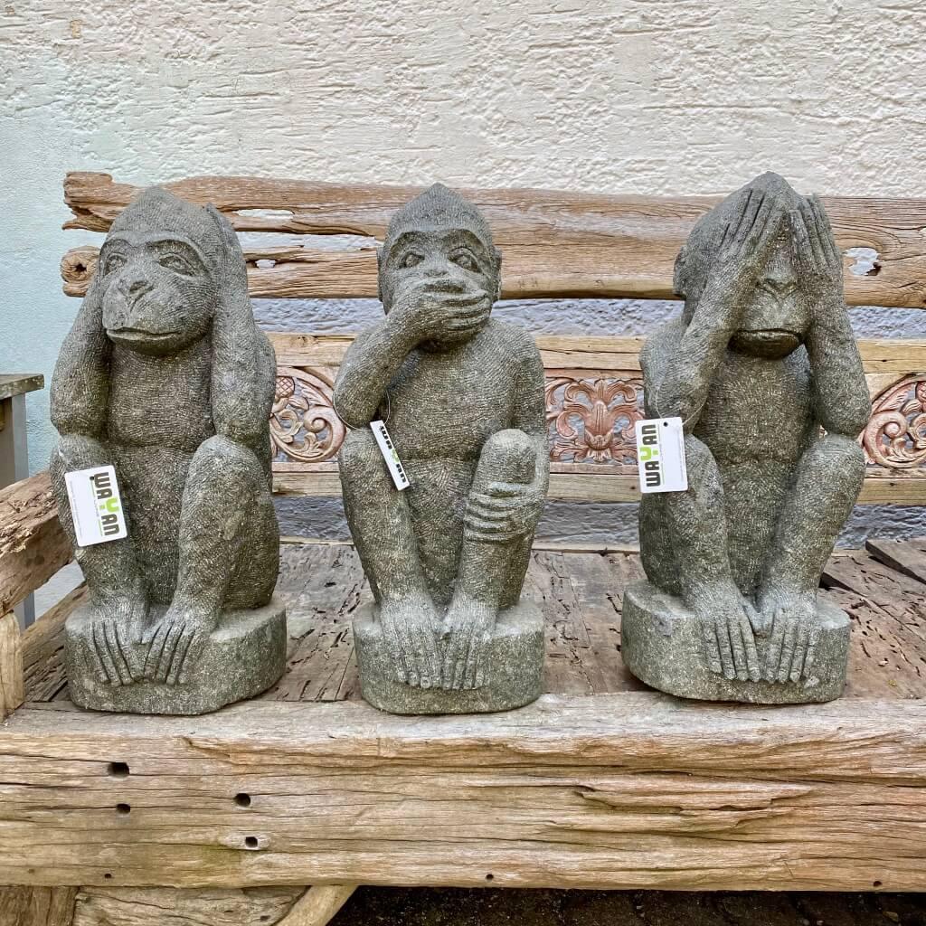 """3 Monkeys """"Nichts Sehen, Nichts Sprechen, Nichts Hören"""" 60 cm"""