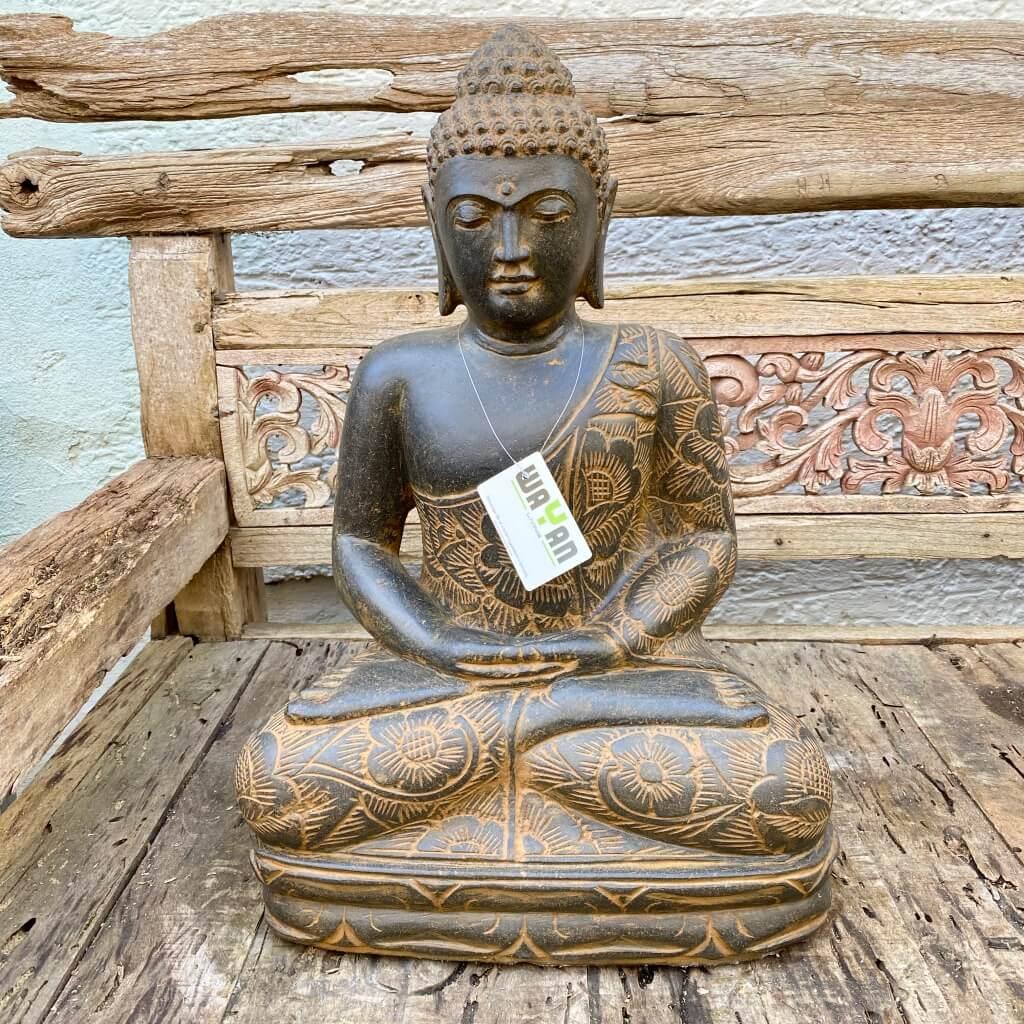 Meditationsbuddha Flussstein 65 cm