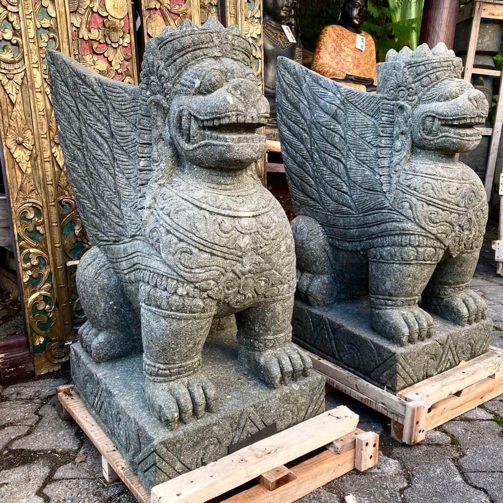 Bali Löwen Wächterfiguren Paar 82 cm