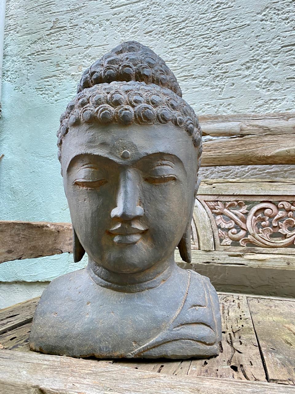 Buddhakopf aus Stein antikstyle 60 cm