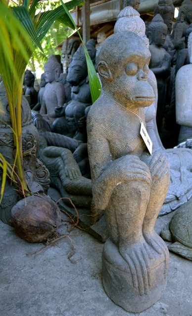Affe Steinstatue Skulptur Accessoire Deko Basanit Stein 83 cm