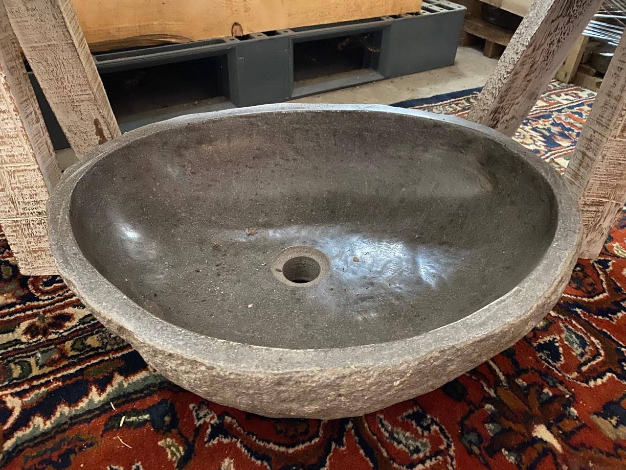 Steinschale Waschbecken 55 cm