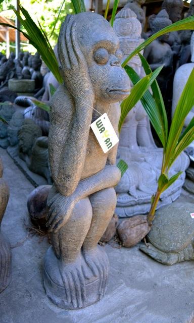 Affen Gartenfigur Stein Skulptur Deko Basanitstein 90 cm